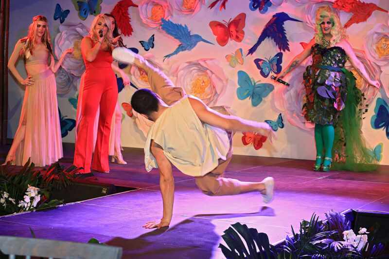 Dancer performing in paper art stage