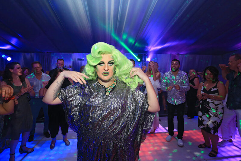 The stunning Tia Tyara drag queen performing at the silver disco party