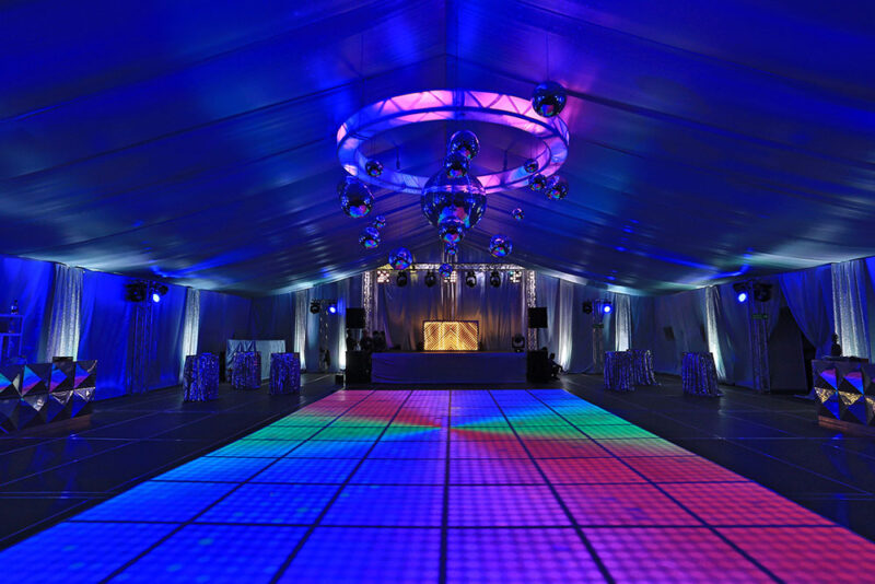 LED Dance floor at the Silver Disco themed after party