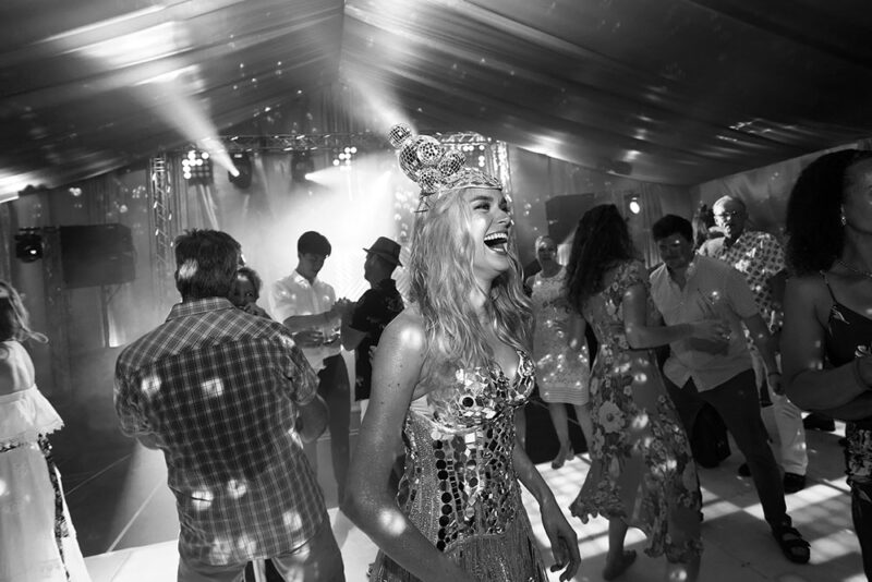 Dancer in disco ball outfit on sparkling event