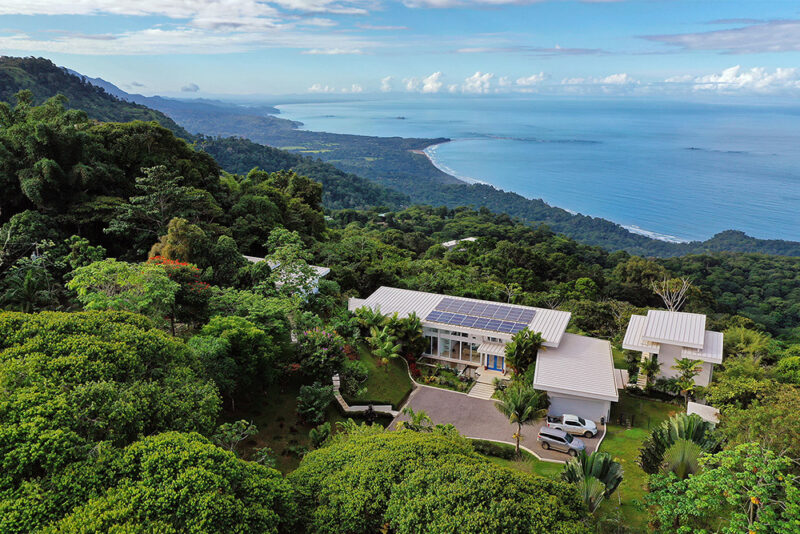 Aerial view of the property with ocean and jungle surroundings - Casa de Luz | Costa Verde Estates
