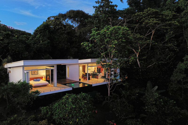 A secluded guest house, surrounded by jungle. This design has set a modern spin on treehouses. - Casa de Luz | Costa Verde Estates